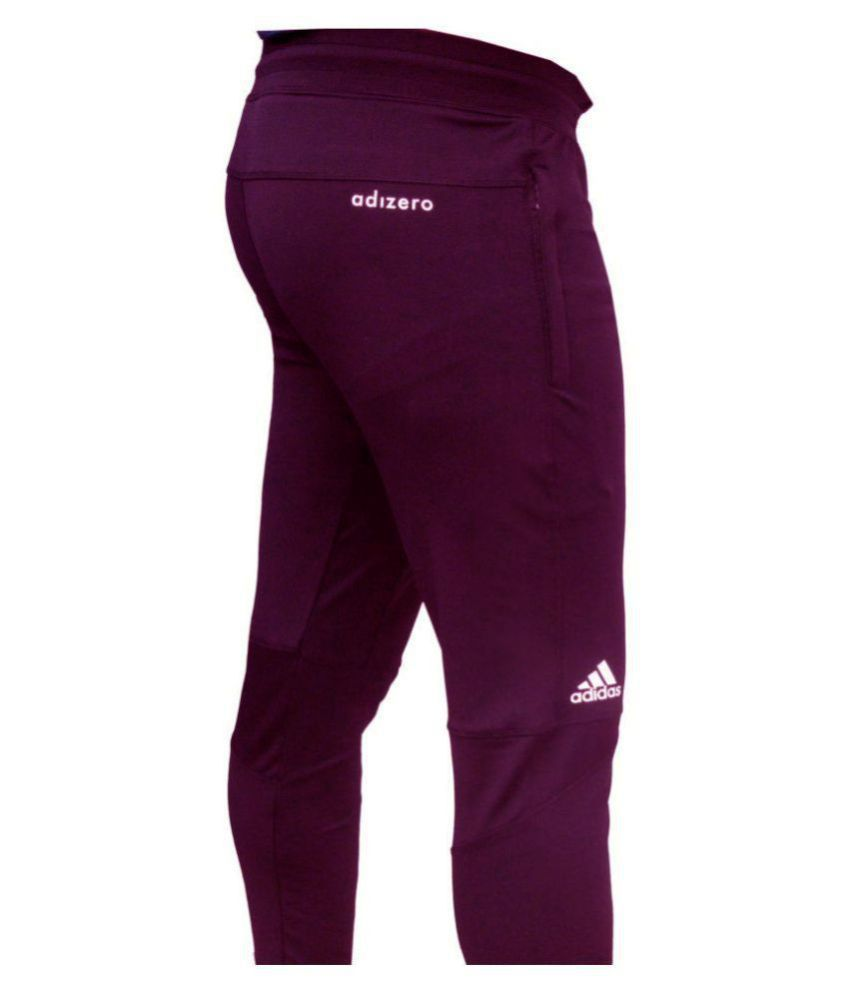 Adidas adizero burgandy polyster lycra sports track pants