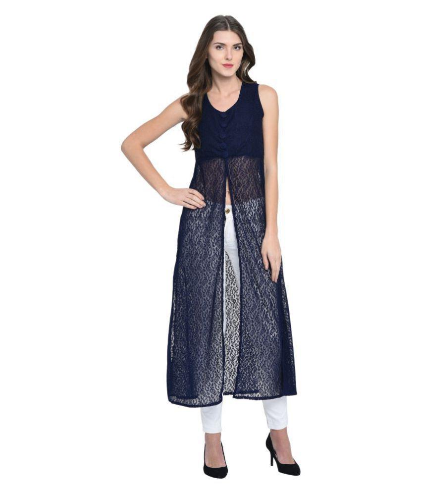 Triraj Net Blue A- line Dress