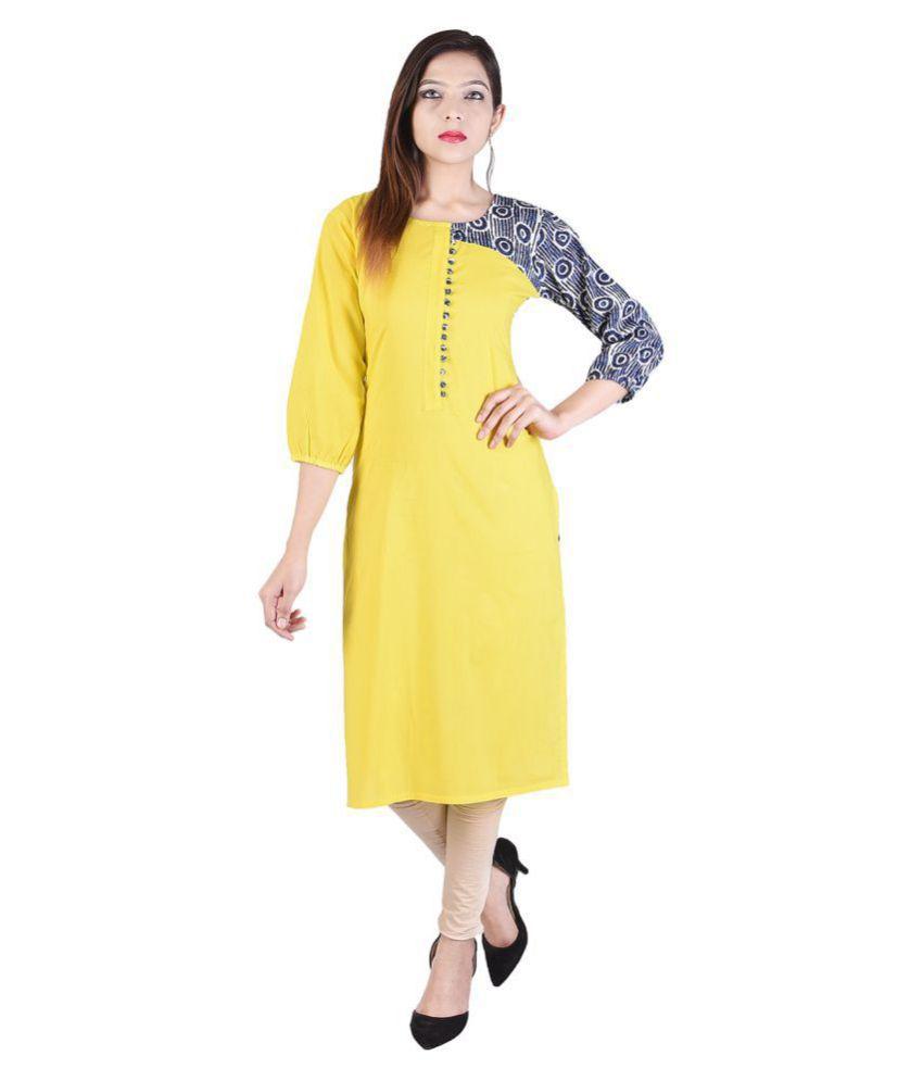 Desier Yellow Cotton Straight Kurti