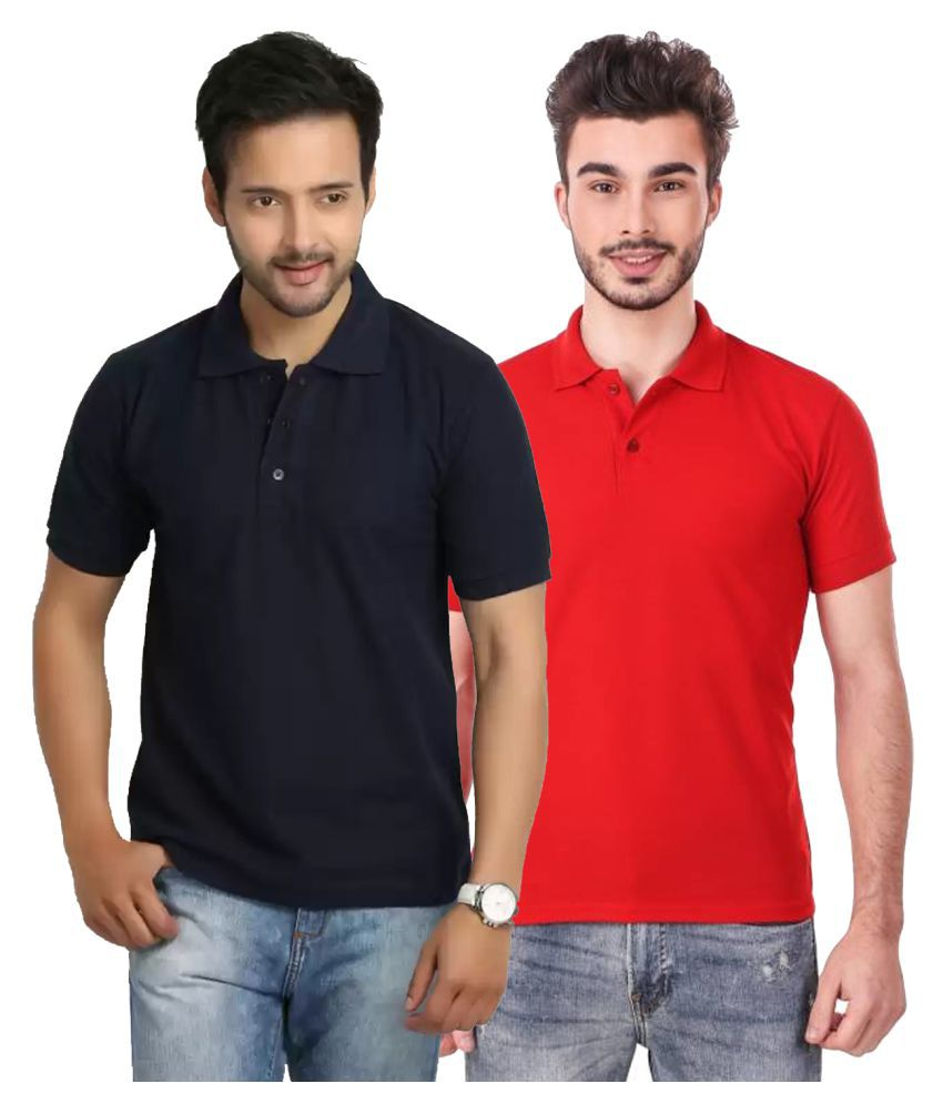 Freely Polyester Cotton Navy Solids T-Shirt