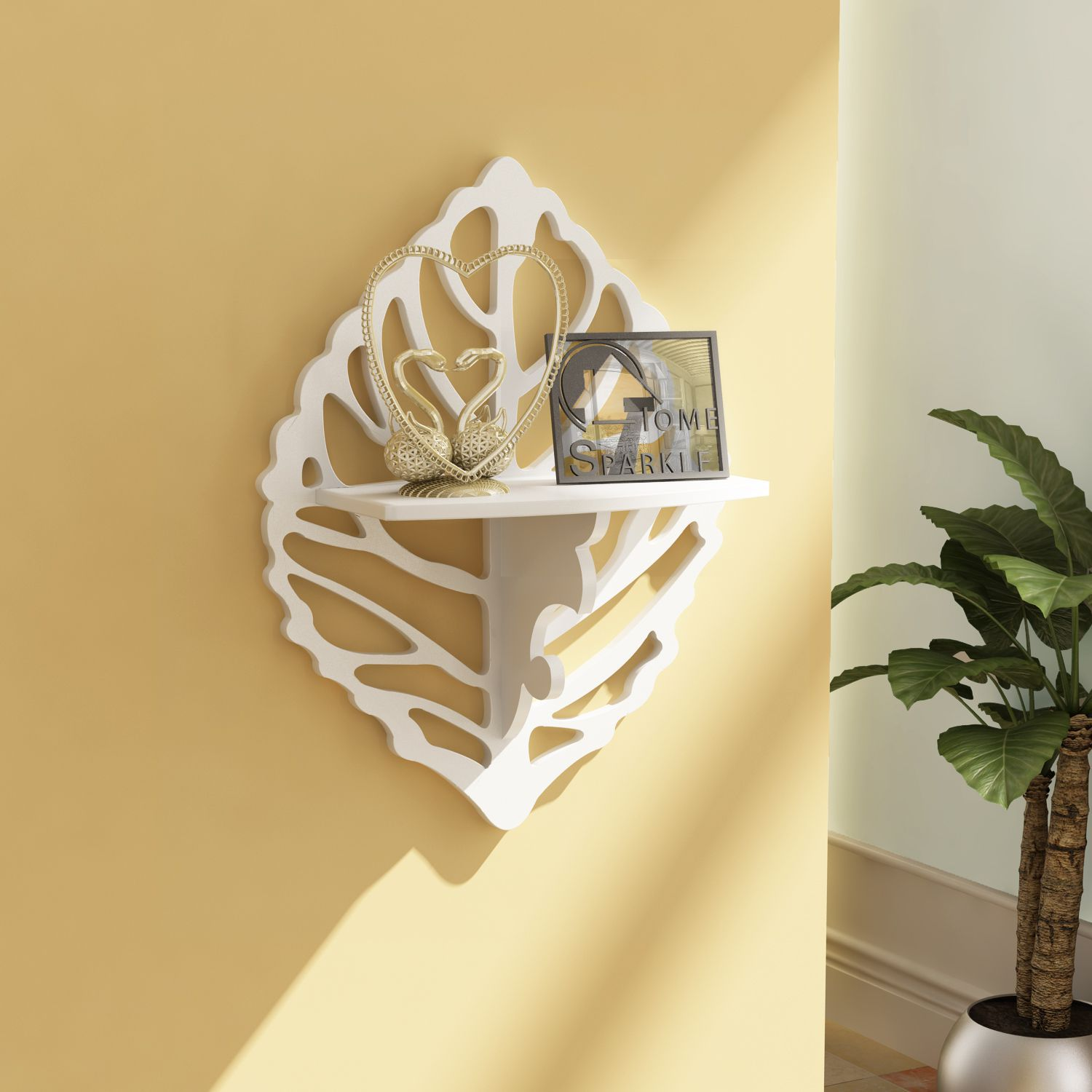 Home Sparkle MDF Carved Shelf For Wall Décor -Suitable For Living Room/Bed Room (Designed By Craftsman)