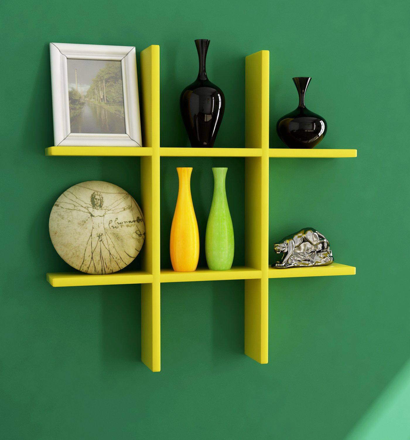 Home Sparkle MDF Plus Shaped Wall Rack For Wall Décor -Suitable For Living Room/Bed Room (Designed By Craftsman)