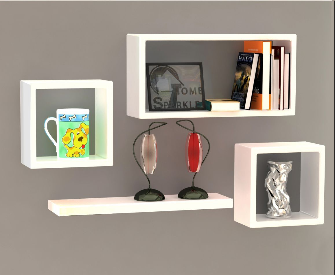 Home Sparkle MDF Set Of 4 Wall Shelves For Wall Décor -Suitable For Living Room/Bed Room (Designed By Craftsman)