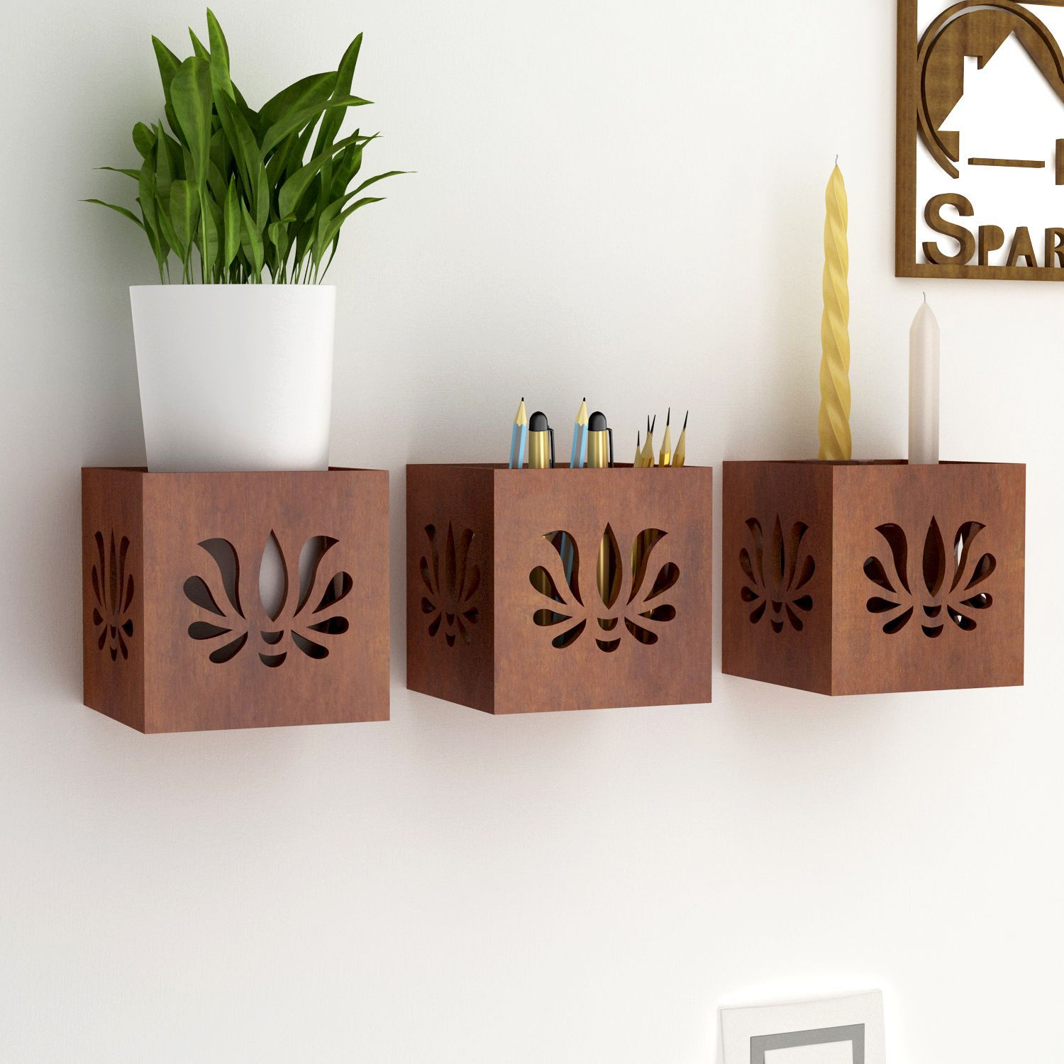 Home Sparkle MDF Set Of 3 Hanging Tea Light Cum Organizer For Wall Décor -Suitable For Living Room/Bed Room (Designed By Craftsman)
