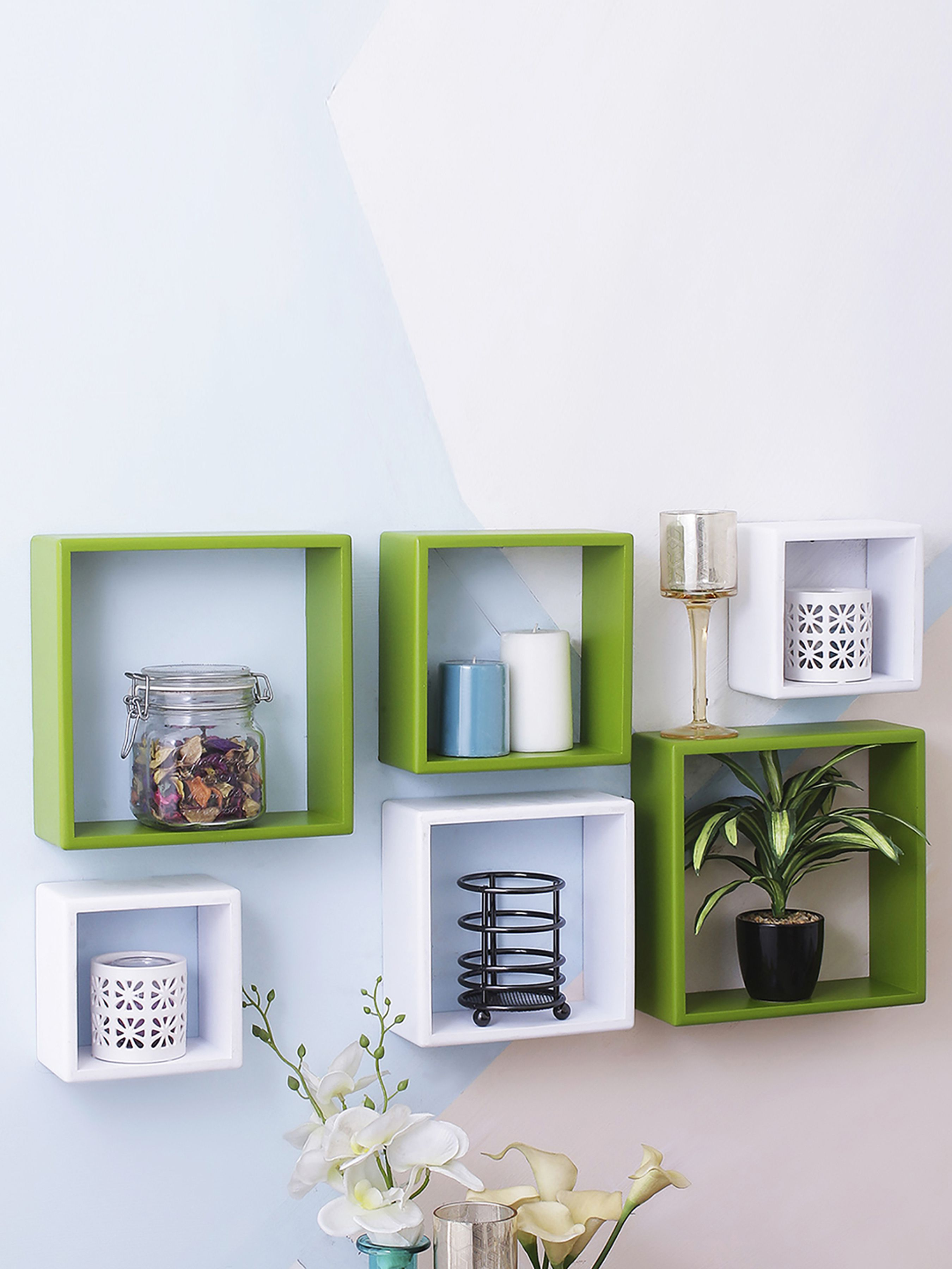 Home Sparkle MDF Set of 6 Square Wall Shelves For Wall Décor -Suitable For Living Room/Bed Room (Designed By Craftsman)