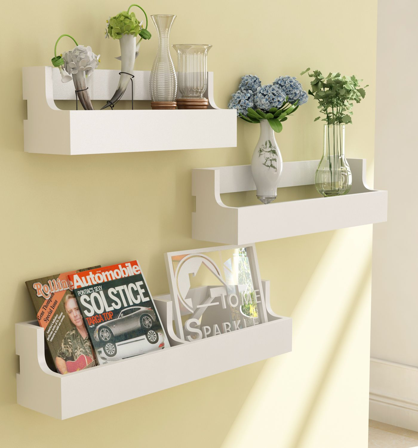 Home Sparkle MDF Set of 3 Pocket Shelf For Wall Décor -Suitable For Living Room/Bed Room (Designed By Craftsman)