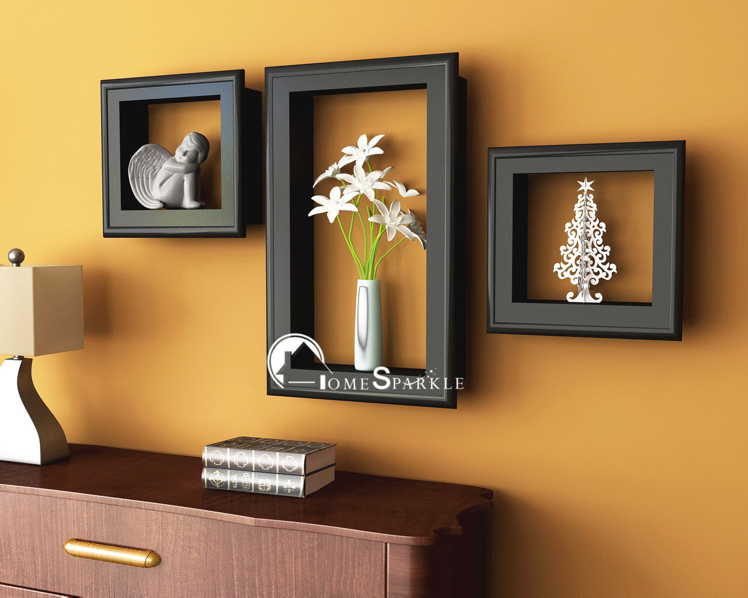 Home Sparkle MDF Set of 3 wall shelves w/Frames For Wall Décor -Suitable For Living Room/Bed Room (Designed By Craftsman)
