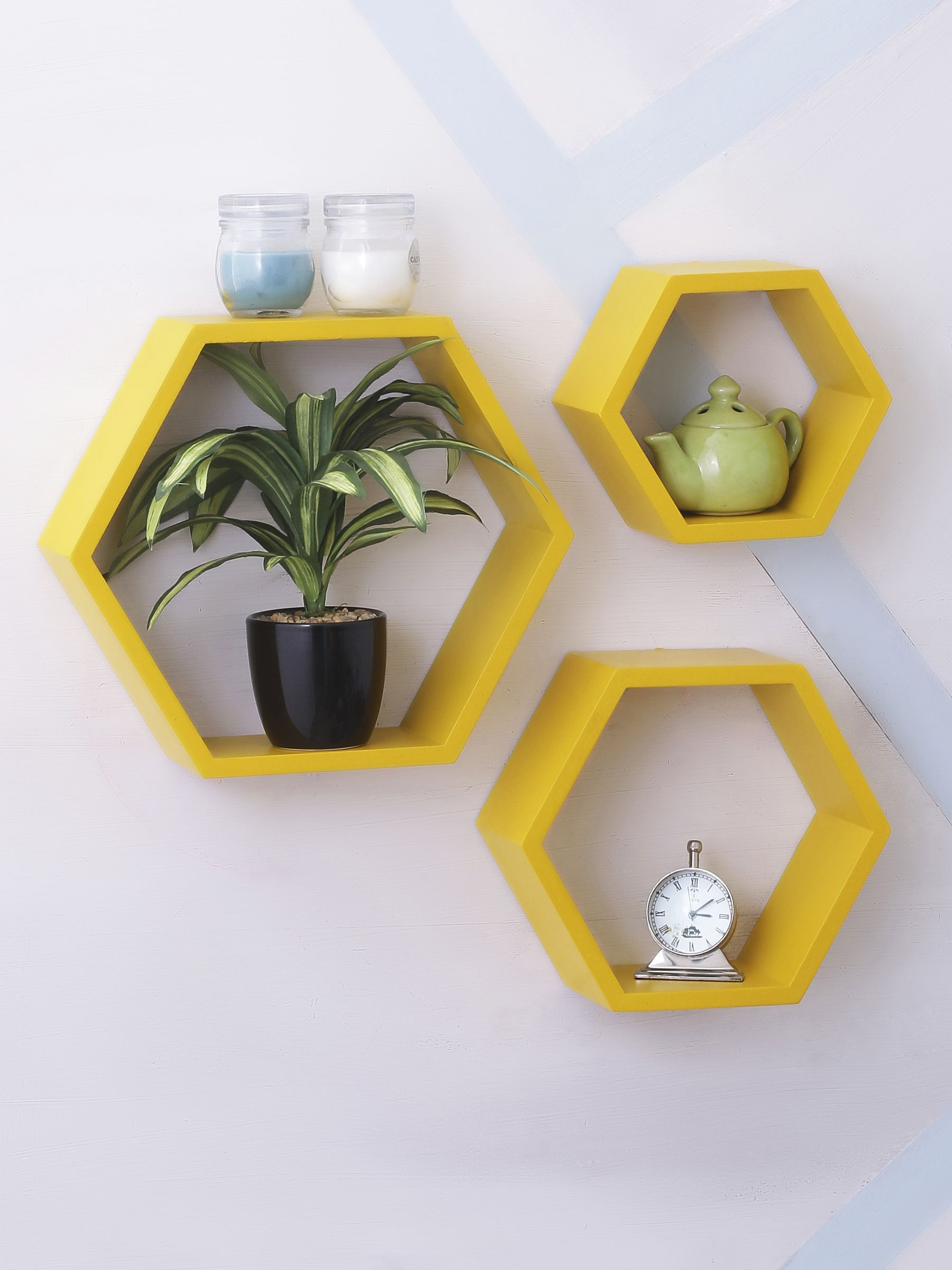 Home Sparkle MDF Set of 3 Hexagon Wall Shelves For Wall Décor -Suitable For Living Room/Bed Room (Designed By Craftsman)