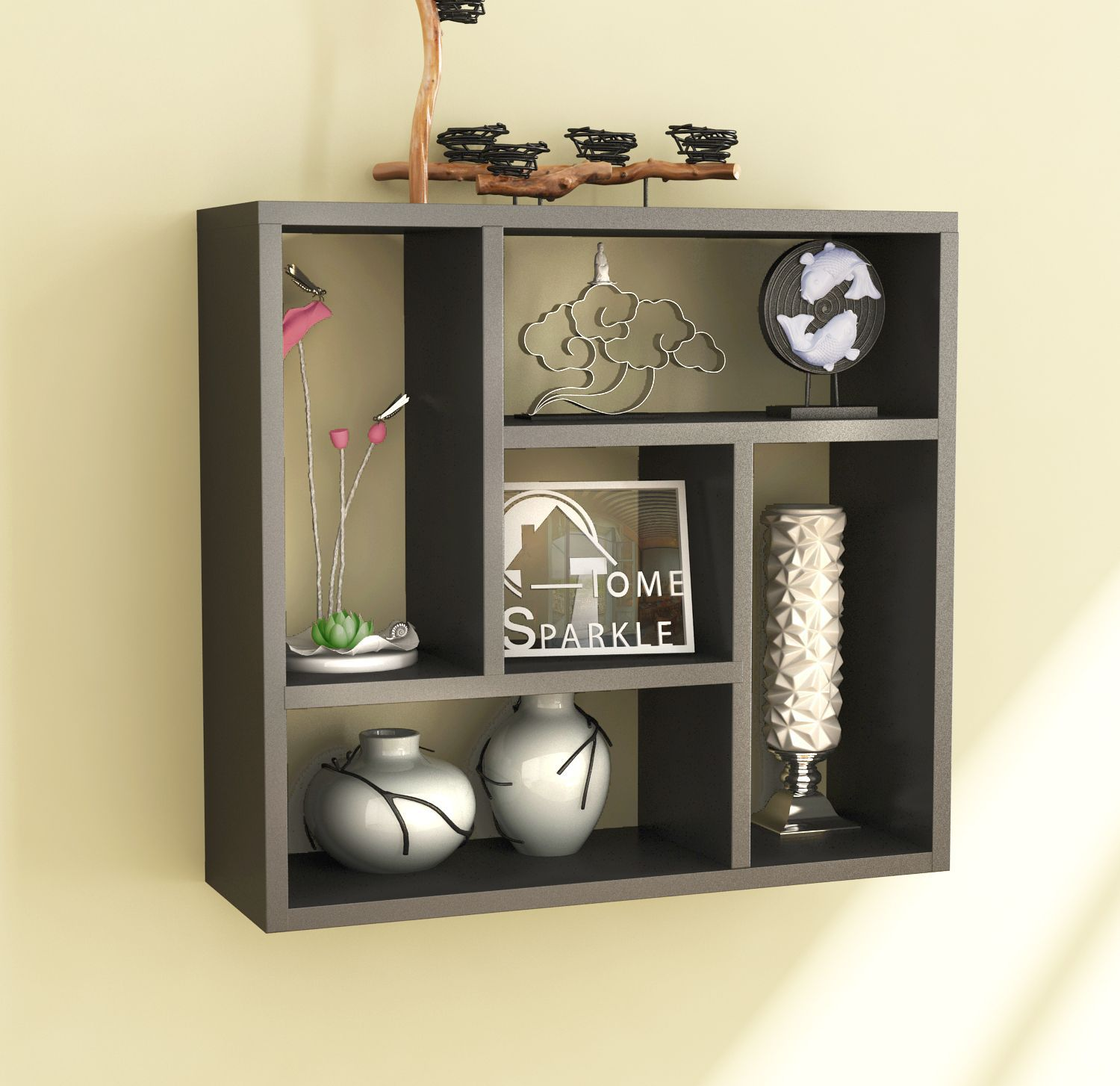 Home Sparkle MDF Square Wall Shelf For Wall Décor -Suitable For Living Room/Bed Room (Designed By Craftsman)