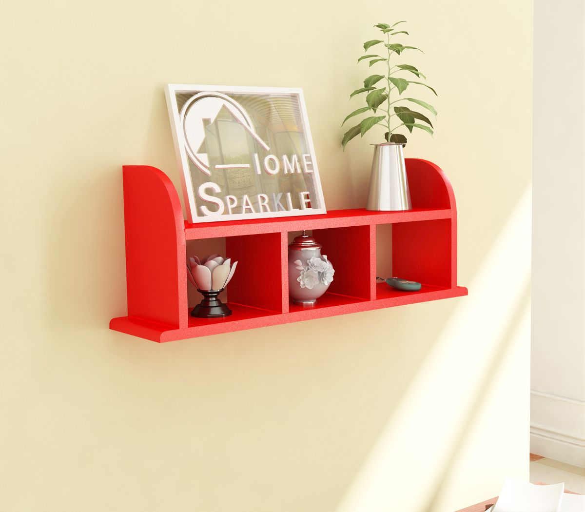 Home Sparkle MDF Straight Wall Shelf For Wall Décor -Suitable For Living Room/Bed Room (Designed By Craftsman)