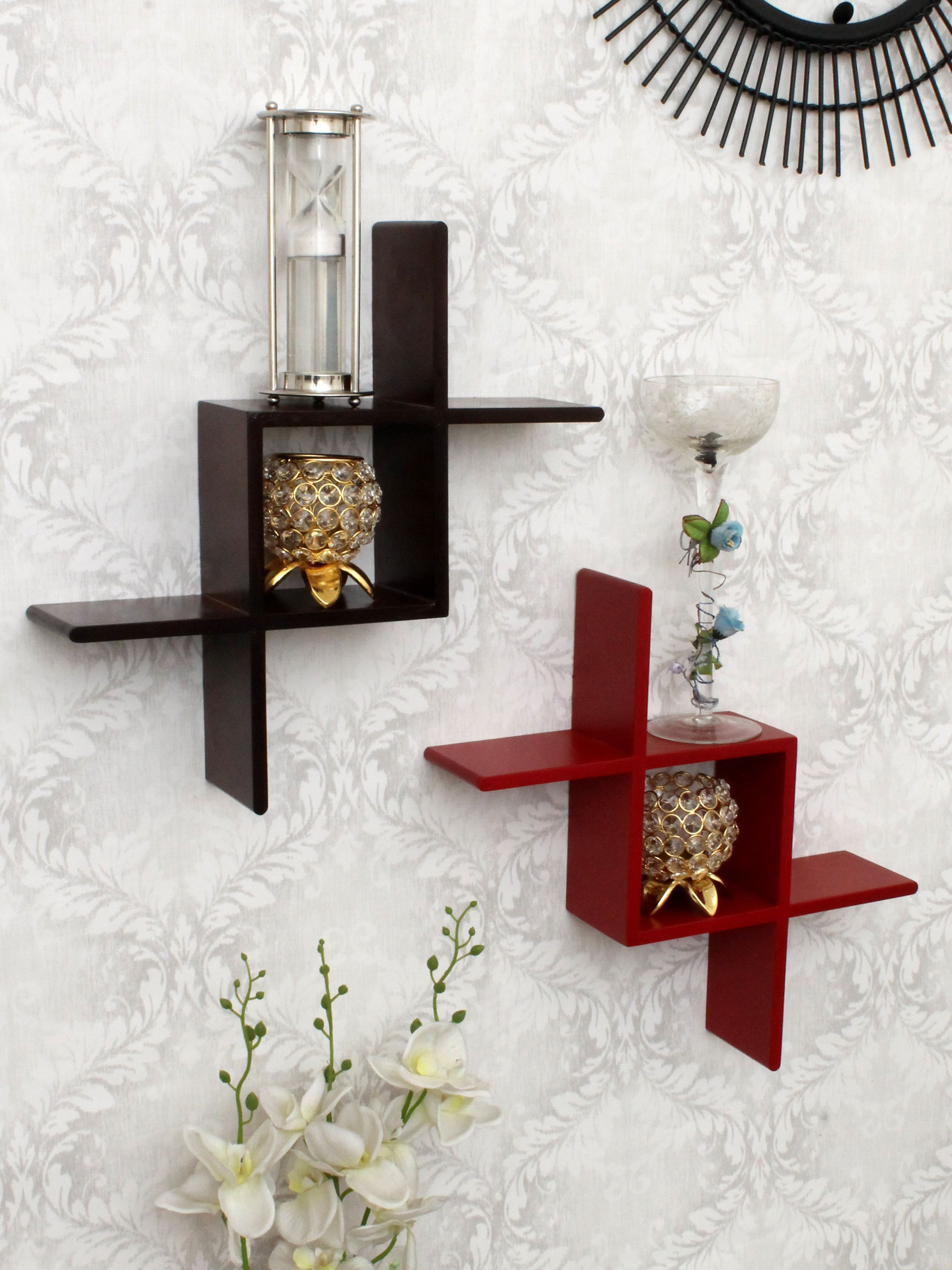 Home Sparkle MDF set of 2 zig zag wall shelf For Wall Décor -Suitable For Living Room/Bed Room (Designed By Craftsman)