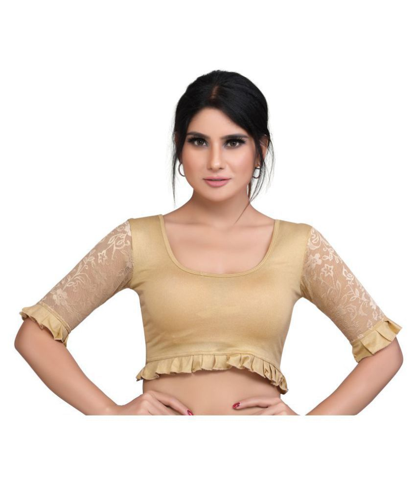 PKYC Gold Lycra Readymade without Pad Blouse