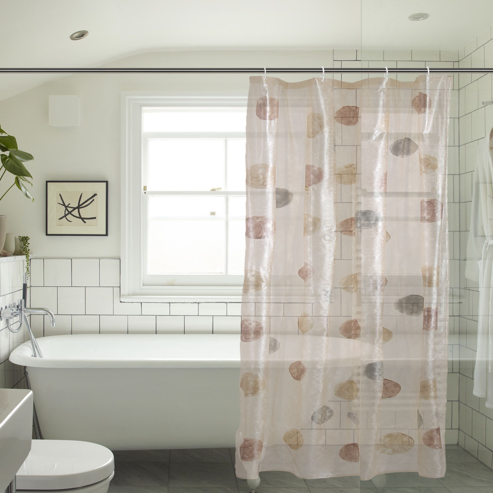 Khushi Creation Set of 2 Shower Curtain Brown Others