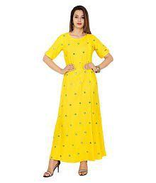 vechikshraa Yellow Rayon A-line Kurti