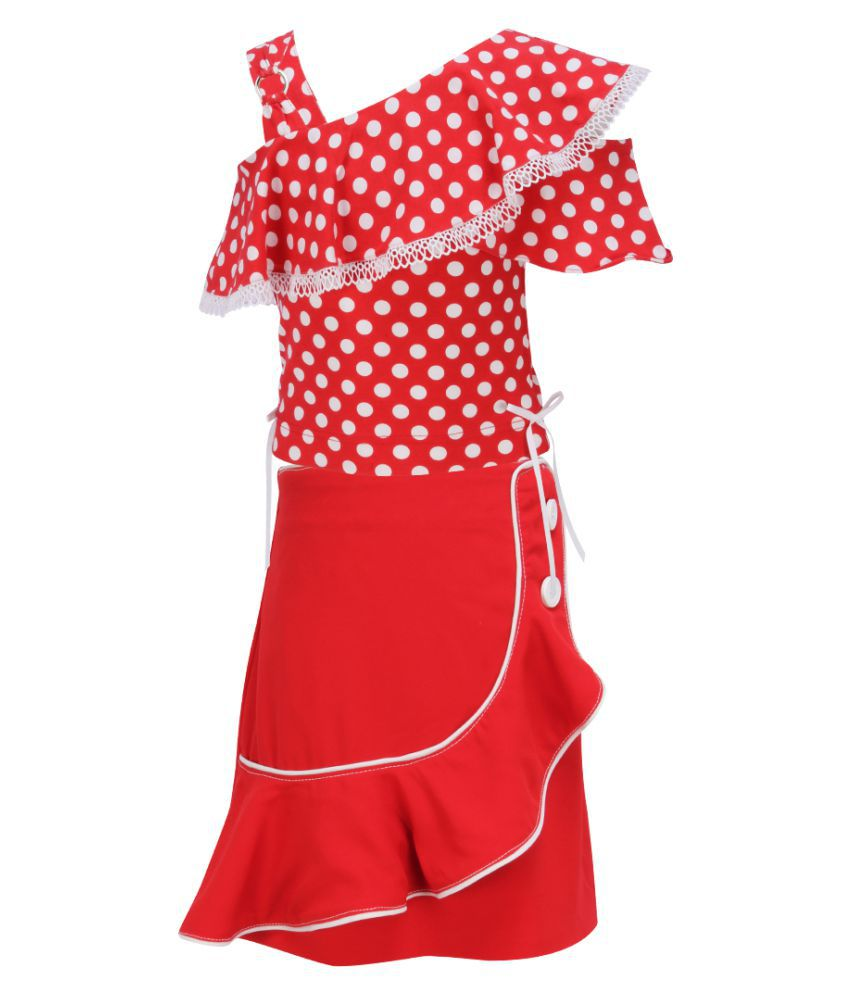 Cutecumber Girls Partywear Cotton Knit Top with Georgette Skirt