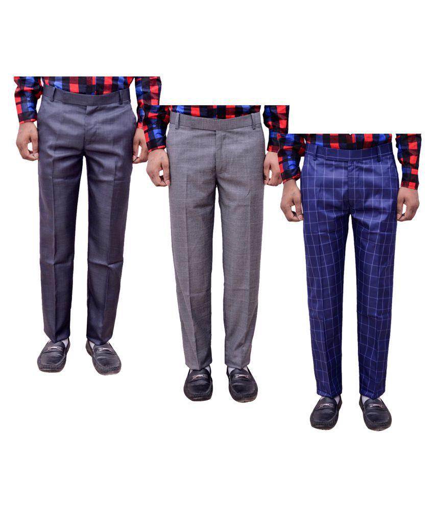 IndiWeaves Blue Regular -Fit Flat Trousers