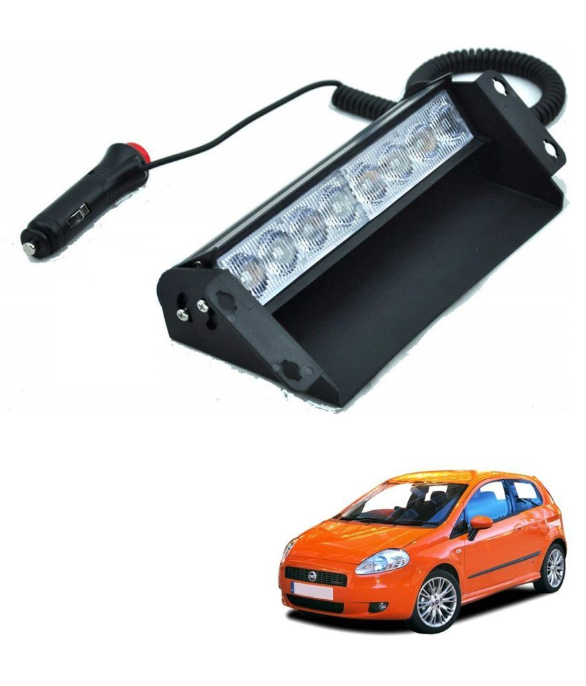 Auto Addict Car 8 LED Police Lights Flasher Light Red Blue Interior Lighting For Fiat Grand Punto