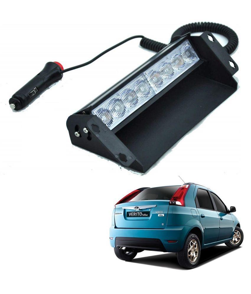 Auto Addict Car 8 LED Police Lights Flasher Light Red Blue Interior Lighting For Mahindra Verito Vibe