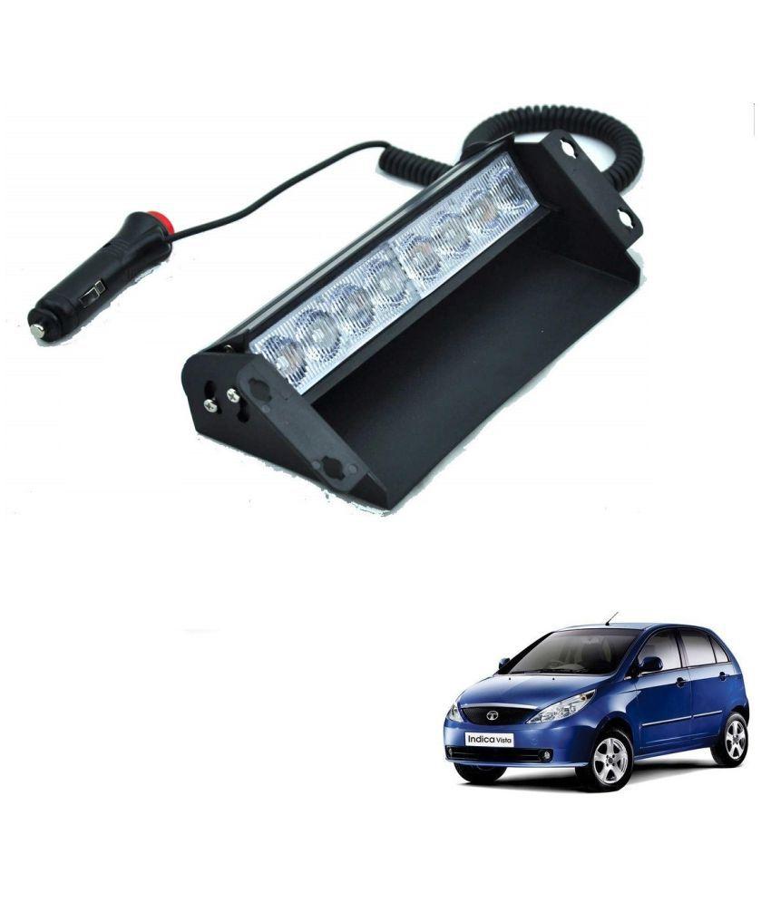 Auto Addict Car 8 LED Police Lights Flasher Light Red Blue Interior Lighting For Tata Indica Vista