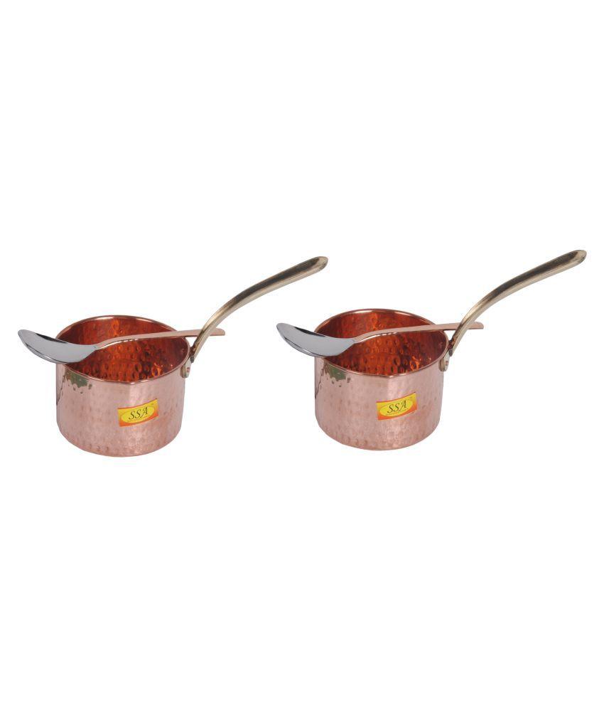 Shiv Shakti Arts Copper SaucePan500ML 2 Piece Cookware Set