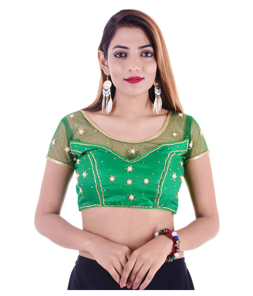 ADABHUT Green Silk Readymade with Pad Blouse