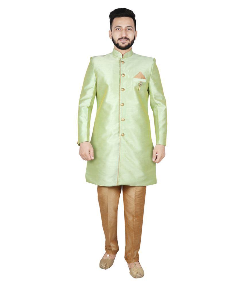 SG LEMAN Dark Green Silk Sherwani