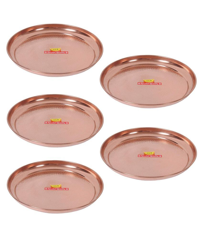 Shiv Shakti Arts Dinnewware Plates Copper Dinner Set of 5 Pieces