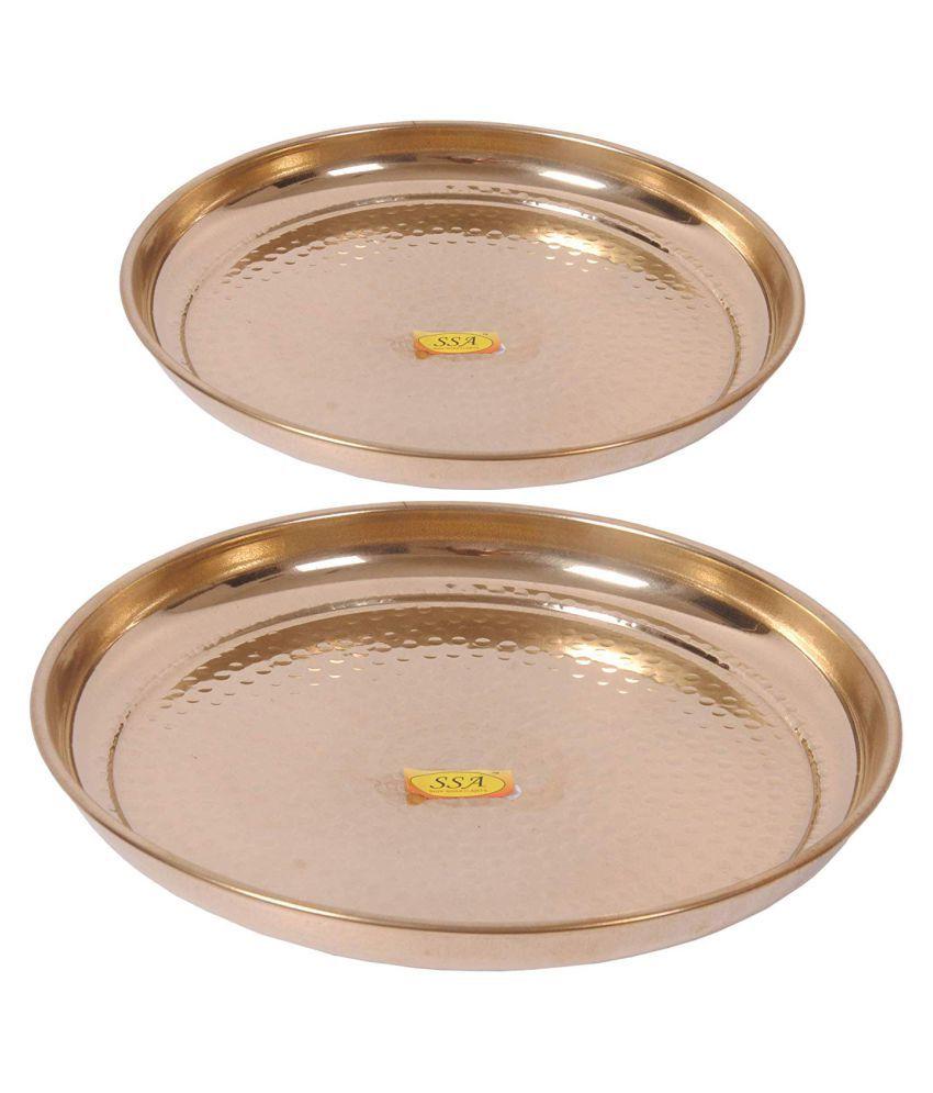 Shiv Shakti Arts Dinnewware Plates Brass Dinner Set of 2 Pieces