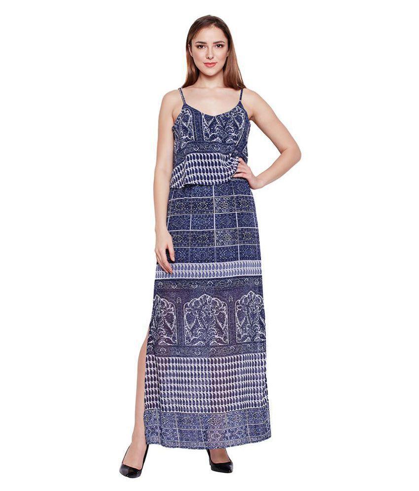 Oxolloxo Polyester Navy Regular Dress