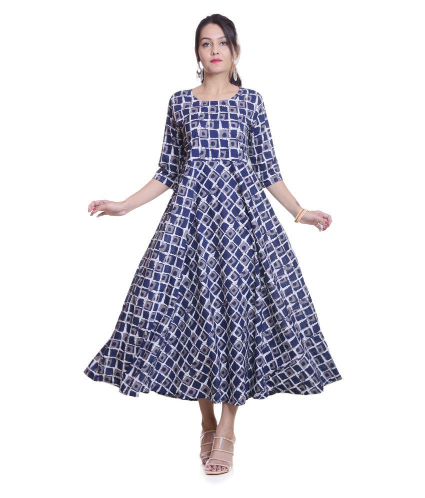 RangoliJaipur Blue Cotton Anarkali Kurti