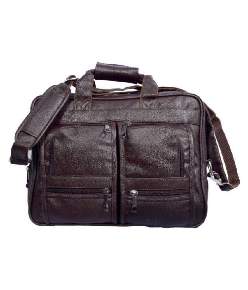 Black Bird Brown Synthetic Office Bag