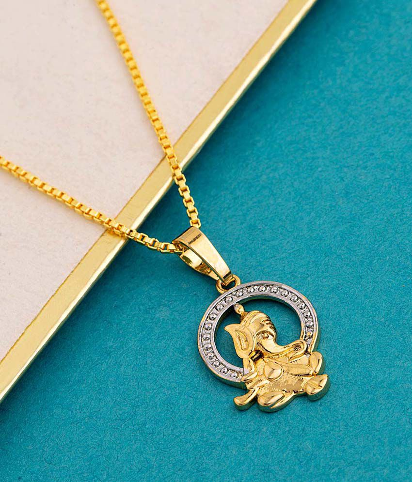 Dare by Voylla Ganesh Pendant With Chain For Men