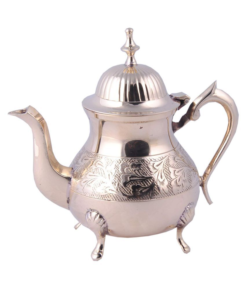 Shiv Shakti Arts Tea Container Pot Brass Tea/Coffee/Sugar Container Set of 1 700 mL