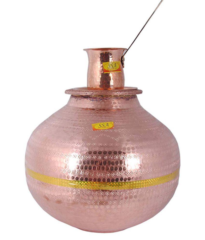 Shiv Shakti Arts Water Dispenser Pot Copper Water Container Set of 2 15000 mL