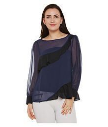 Oxolloxo Polyester Regular Tops - Navy