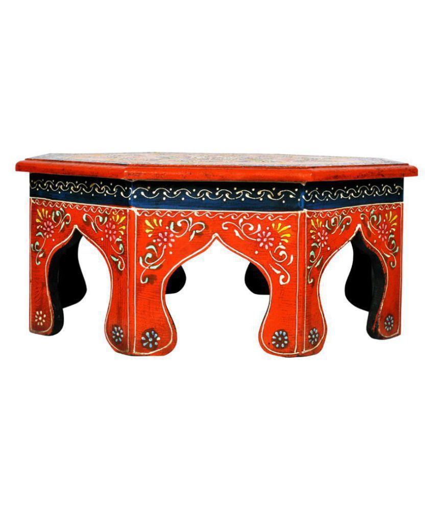 Lalhaveli Ethnic Hand Painted Work Design Decorative Round Pooja Chowki Bajot 14 X 14 X 6 Inches