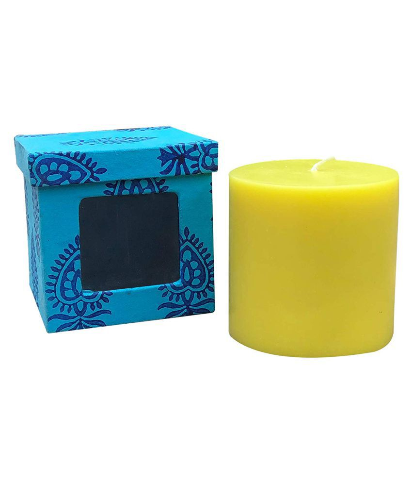 Indha Craft Yellow Pillar Candle - Pack of 1