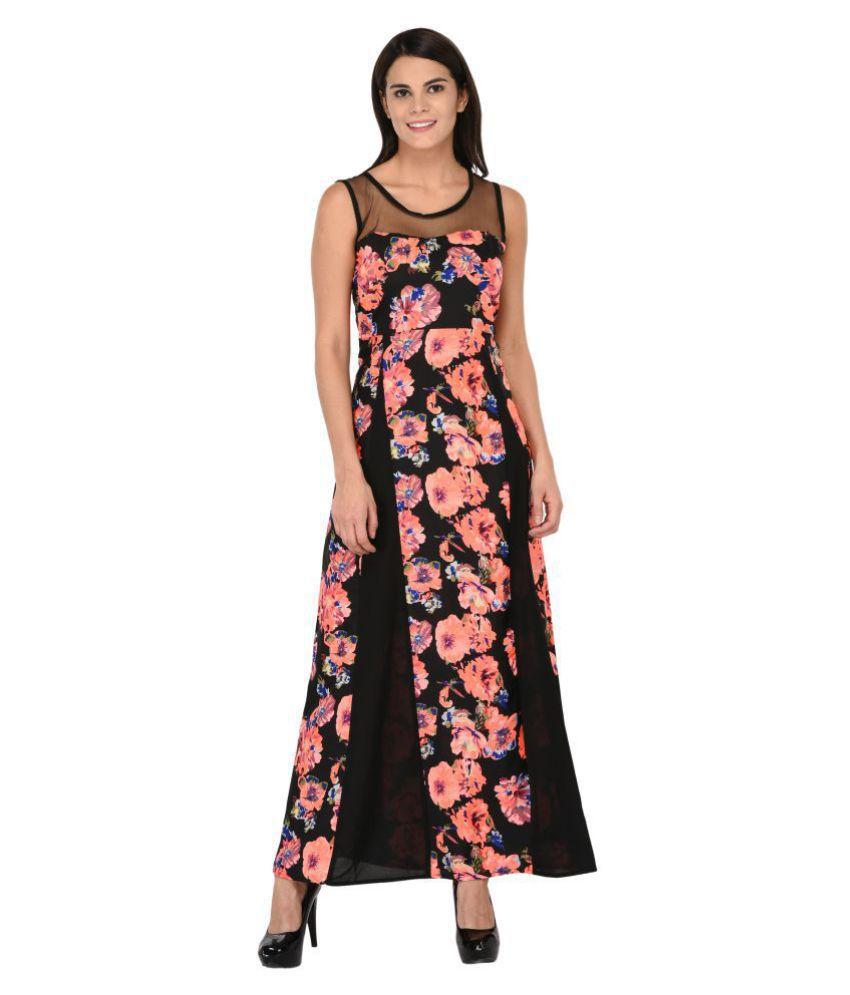 Triraj Georgette Black Regular Dress