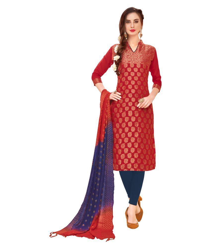 Maroosh Maroon Banarasi Silk A-line Semi-Stitched Suit