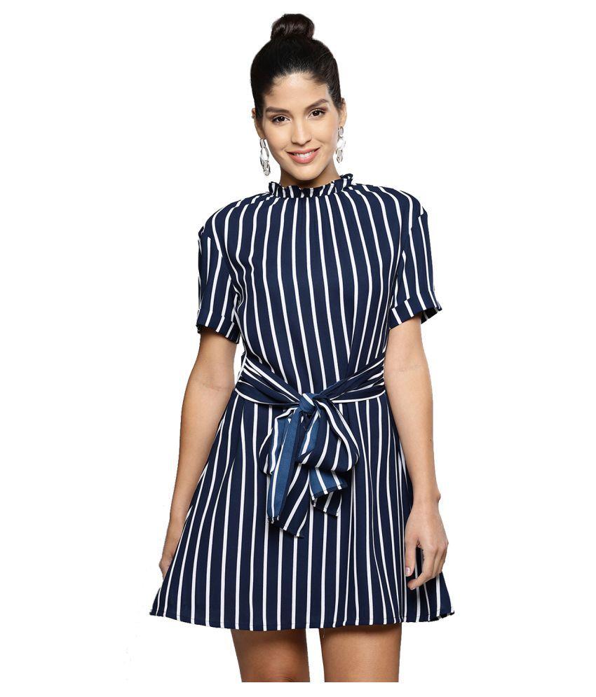 Besiva Polyester Navy A- line Dress