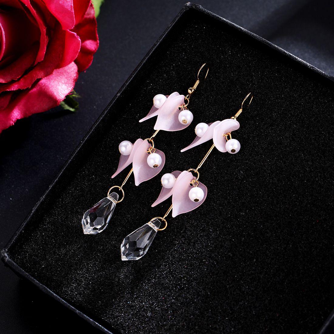 Jewels Galaxy Wonderful Pearls Drop Petals Design Crystal Pink Drop Earrings For Women/Girls