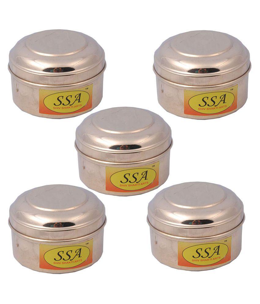 Shiv Shakti Arts box for storage Copper Food Container Set of 5 250 mL