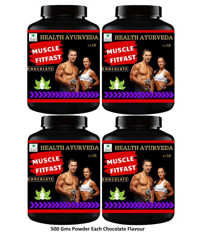 Health Ayurveda Muscle FitFast Chocolate Flavour Powder 2000 gm Pack Of 4