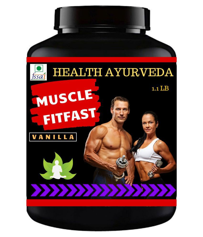 Health Ayurveda Muscle FitFast Vanilla Flavour Powder 500 gm Pack Of 1