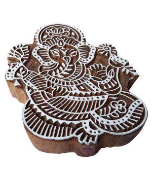 5 Inch Original Large Wood Stamp Ganesha Round Design Big Printing Block