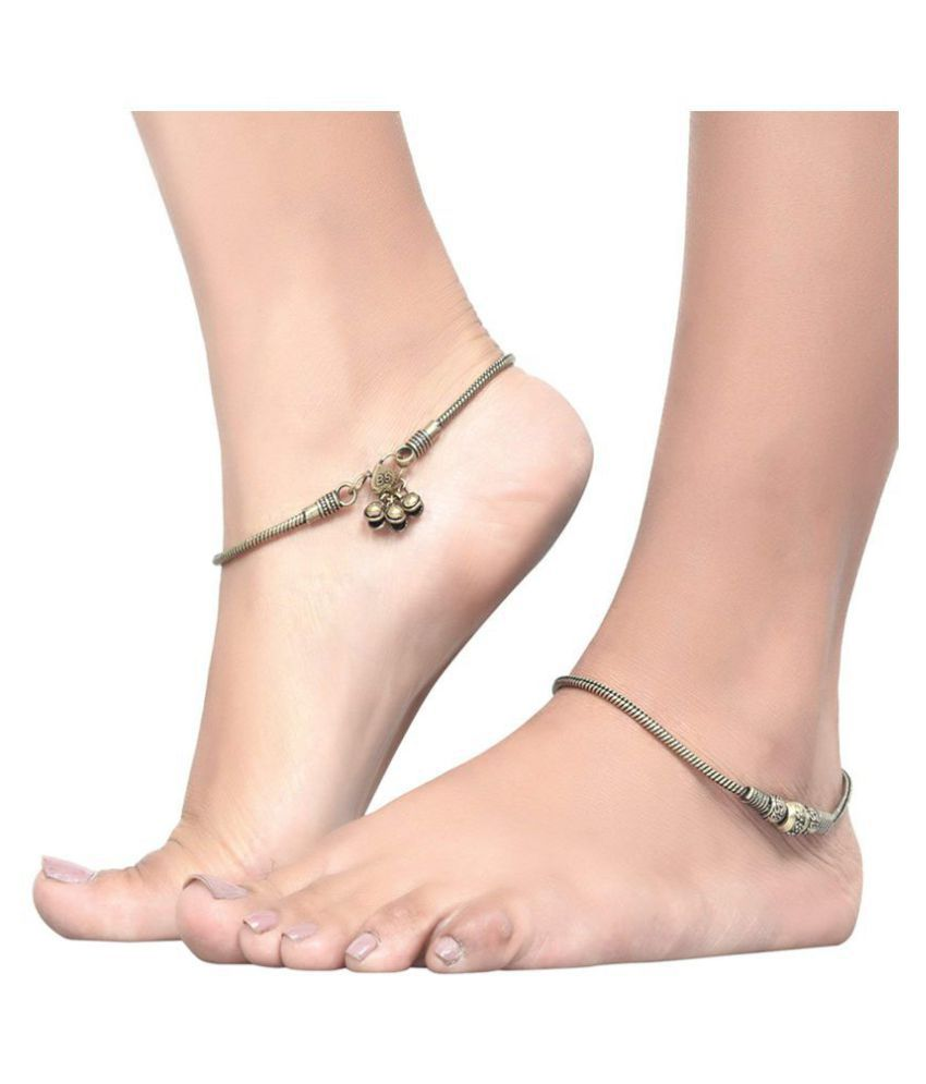 Priyassi Golden Germen Silver Anklet for Women