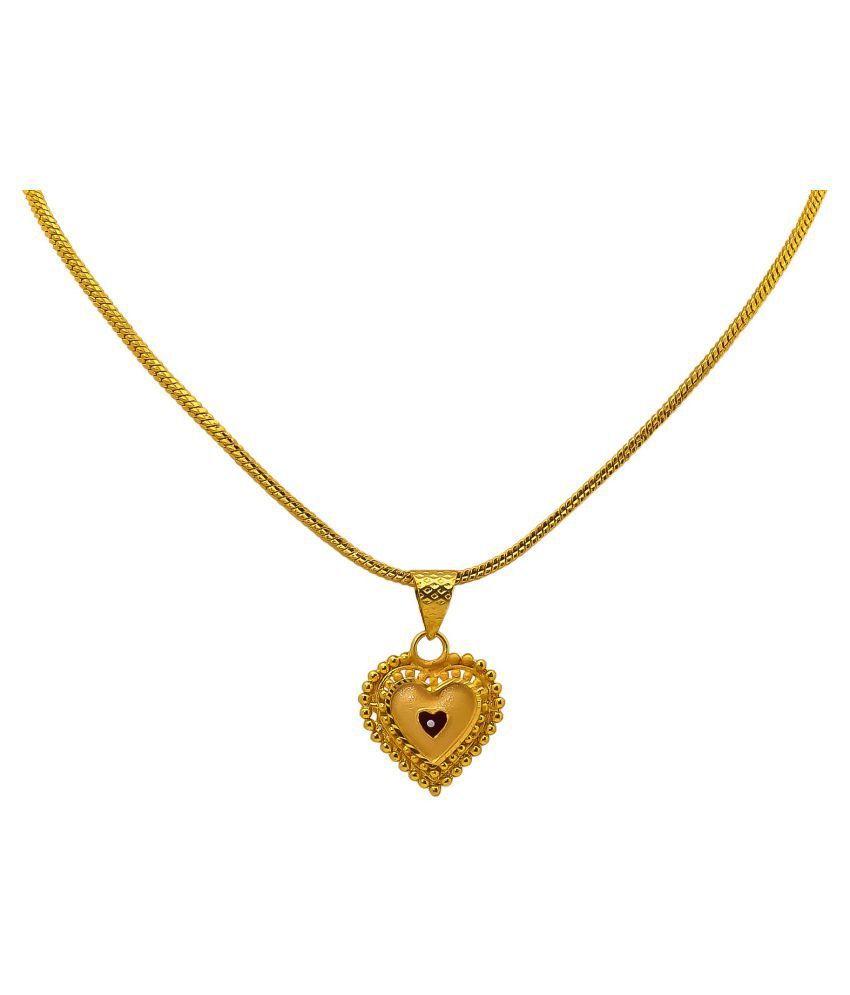 36d7faf35544c Jewar Mandi Gold Plated Heart Shape Pendant Set for Girls & Women