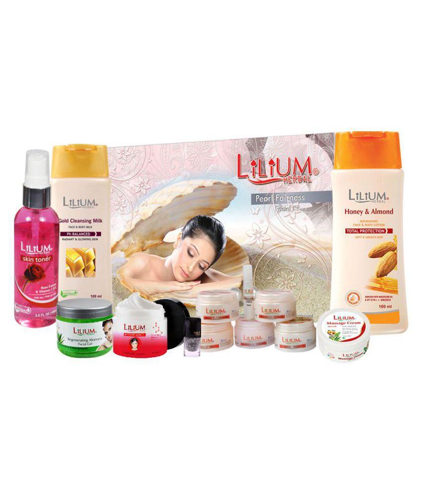 Lilium  Herbal Pearl Facial Kit Skin Glowing Product Kit  Facial Kit 1036 mL Pack of 8