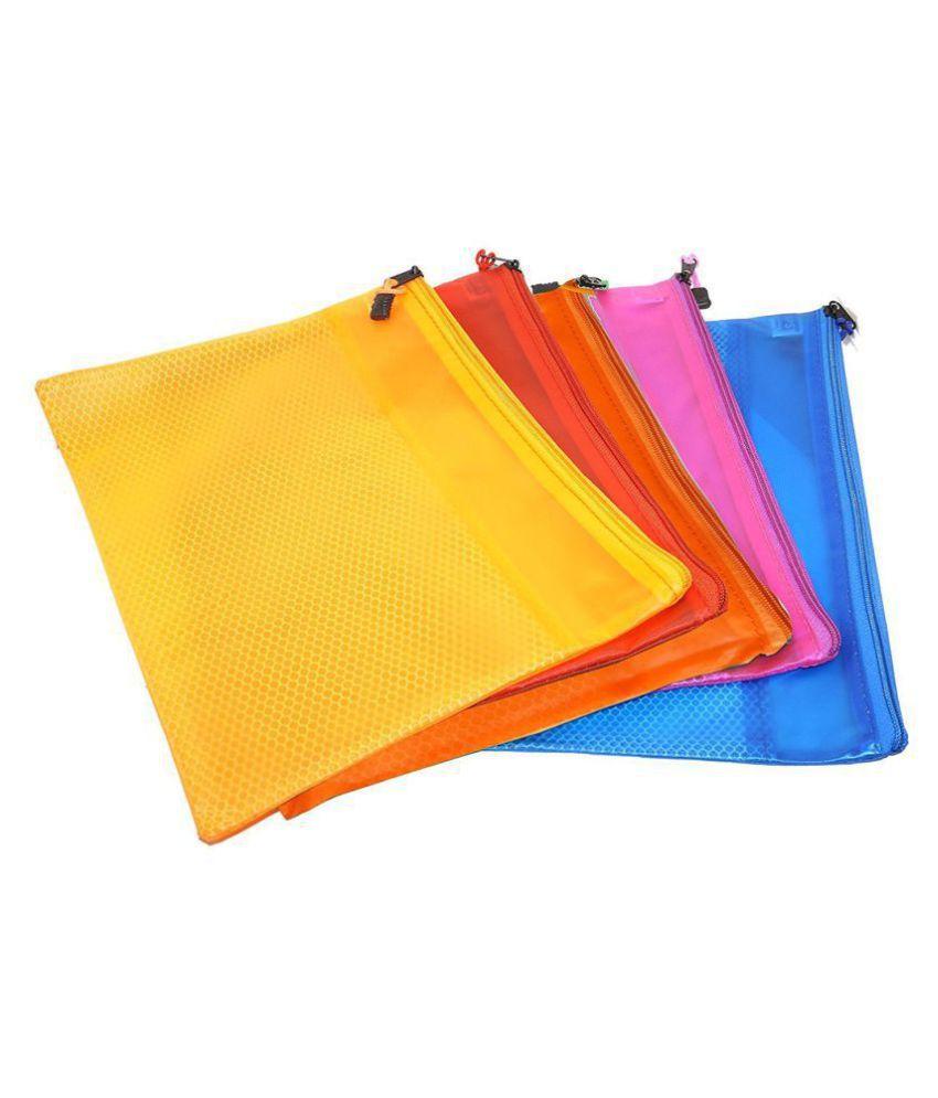 JARANI A4 Size Waterproof Zipper Envelope Mesh Pouch/Documents Holder/Bags (Set of 5, Multicolor)
