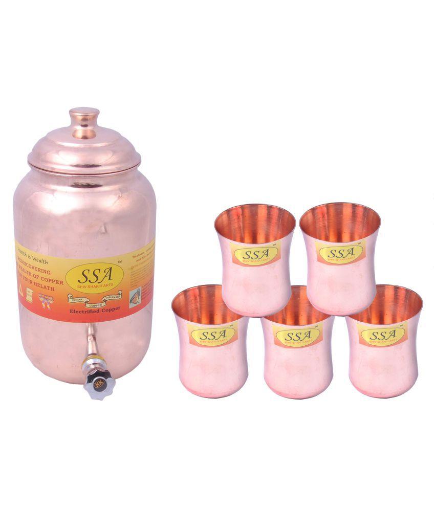 Shiv Shakti Arts 1 Pot & 5Glass Combo 5 Pcs Lemon set